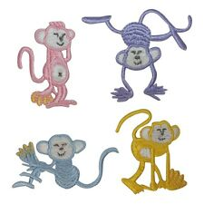 ID 1644ABCD Set of 4 Monkeys Animal Embroidered Iron On Applique Patch