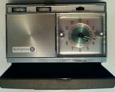 VINTAGE WESTINGHOUSE TRAVEL CLOCK RADIO, PERSONALIZED WITH JEWELED DISPLAY 1960S