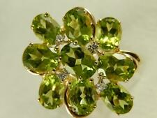 Peridot Diamond Cluster 14k Gold RING Cocktail sz 10 1/4 Estate 7.44 ctw