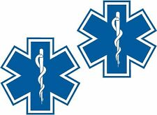 "Star of Life Blue Decal SET 3""x3"" EMS EMT Paramedic Rescue Window Sticker"