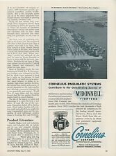 1953 Cornelius Pneumatic Ad McDonnell F2H Banshee Jet Fighters Aircraft Carrier