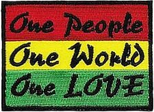 One People One World One Love Rasta sew-on cloth patch  (cv)
