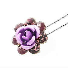 Wedding Decoration Bridal Purple Rose Hair Pin Decoration Accessories HA243