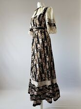 Vintage 70s Maxi Boho Long Cotton Crochet Victorian Edwardian Milkmaid Uk 12-14