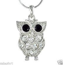 """Wise Wisdom Smart OWL W Swarovski Crystal New Pendant Necklace 18"""" Chain Gift"""