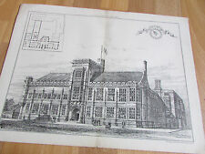 Univ. DURHAM College of MEDICINE Newcastle 1888 Image / Plan from BUILDING News