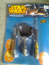 STAR WARS HALLOWEEN PUMPKIN CARVING KITwith 3 CHARACTER TOOLS & 7 PATTERNS mint!