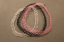 x3 stretchy tattoo chokers necklaces: clear, clear/pink black boho /retro 90's
