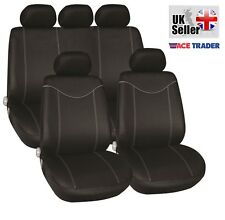 FIAT GRANDE PUNTO (06+) LUXURY FULL CAR SEAT COVER SET BLACK & GREY PIPING