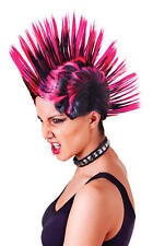 Rosa e nero Mohican Parrucca Punk Nu Rave Rocker Halloween 70's 80's Fancy Dress