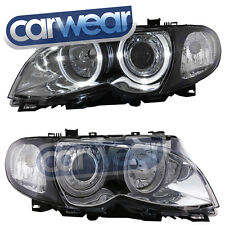 BMW E46 4DR 02-05 CHROME ANGEL EYE'S HEAD LIGHTS 318i 320i 325i 330i T10LED RING