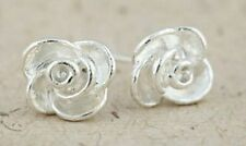 Classic silver tone rose flower stud earrings