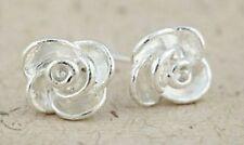 Classic silver tone rose flower stud earrings