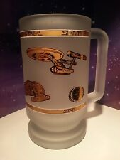 STAR TREK VINTAGE FROSTED GLASS BEER TANKARD MUG TOS TNG DS9 SHIPS IN GOLD FOIL