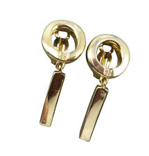 Givenchy Vintage Clip Earrings Logo Gold Dangle Modernist Designer Jewelry 671f