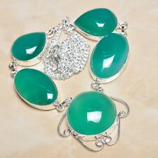 "Handmade Chrysoprase Jasper Gemstone 925 Sterling Silver Necklace 19.5"" #N00207"