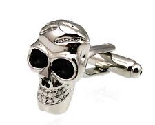 Men's Cufflinks Skull Black Silver Cuff links for shirt 19mm  3730