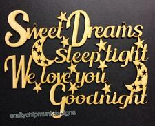sweet Dreams Sleep Tight..Craft cutout sign plaque 400 x 300mm mdf in 4mm