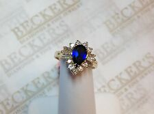 18k yellow gold Pear Shaped Sapphire Ring Round & Baguette Diamond Halo 1.28 tw