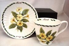 March Cup & Saucer Gilded Bone China Tea / Coffee Cup & Saucer Set Gift Boxed