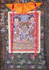 COLORFUL TIBETAN GOLD ACCENT WRATHFUL YAMANTAKA PROTECTOR THANGKA PAINTING #108
