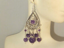 Gemstone Earrings - Purple Amethyst & 925 Sterling Silver - long chandeliers
