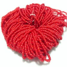 VTG Red Venetian White Heart Trade Beads, Approx. 2mm x 2mm and 225 Beads/Strand
