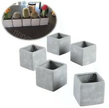 Small Plant Flower Pots Set 5 Piece Square Gray Stone Design Planter Home Decor