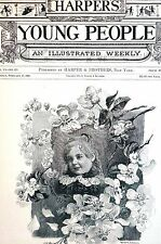 Frank French 1885 APPLE BLOSSOMS Flowers Sweet Girl Child Matted Antique Print