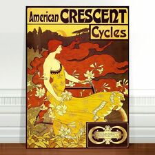 "Vintage Cycling Advertising Poster Art ~ CANVAS PRINT 18x12"" Crescent Cycles"