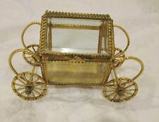 Vintage Stylebulit Ormolu Filigree Cinderella Carriage Vanity Casket Jewelry Box
