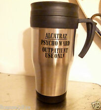 STAINLESS STEEL TRAVEL MUG WITH LID! ALCATRAZ OUTPATIENT W/HANDLE! FREE SHIP!