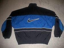 Mens VTG 90's NIKE Full-Zip Windbreaker L BLACK & BLUE w/Trim & BIG Swoosh EUC