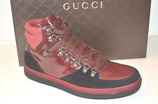 $750 GUCCI Softy Tek High Top Sneakers red/black  368496 size US 9.5