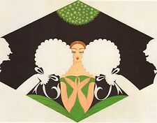 "CLASSIC ERTE' ART DECO BOOK PRINT ""THE SUITORS"" SILHOUETTE MEN WOO YOUNG LADY"