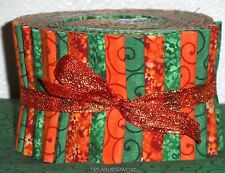 "Jelly Roll Fabric Sage Green Orange Mix Swirl Floral Mix 2.5""Quilting Strips"