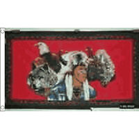 Indian Eagle Wolf Flag 5Ft X 3Ft Usa Native Red Indian Banner With 2 Eyelets New