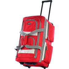 "Olympia Eight Pocket 22"" Rolling Duffel - Red Small Rolling Luggage NEW"
