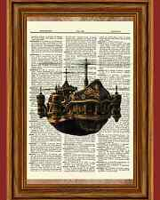 Steampunk Flying Ship Boat Dictionary Curious Art Print Poster Picture OOAK