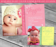 10 Personalised Childrens 1st First Birthday Party Invitations Thank You Girl