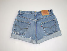 Vintage Levi's Cut Off Denim Shorts Boyfriend Jeans Blue 32""