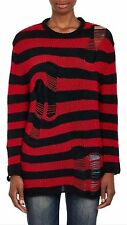 NWT Grunge Red Black R13 R 13 Shredded Pullover Cashmere Stripe Sweater Size S