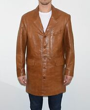 Brown Leather THEKING Semi Fitted Hips Length Button Men's Coat Jacket Size L