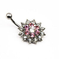 Pink White 14G Flower Crystal Belly Button Navel Ring Bar Body Piercing 1Pc