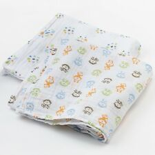 New Infant Boys Blue Green Brown Monkey Soft Summer Muslin Swaddle Blanket Set