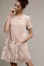 NWT Anthropologie Floreat tan Crinkled Velvet Shift Dress front pockets XL