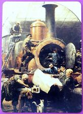 SWAP CARD. STEAM LOCOMOTIVE WORKSHOP. ARTIST WILHELM ALEXANDER MEYERHEIM. WIDE