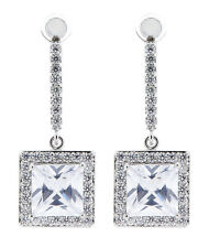 CLIP ON EARRINGS - silver plated drop earring CZ crystals & square stone - Mya