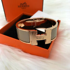 NIB HERMES CLIC CLAC H ENAMEL BANGLE BRACELET MARRON GLACE CHESTNUT ROSE GOLD GM