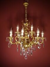 CLASSIC 12 LIGHT GOLD BRONZE FRENCH CHANDELIER CRYSTAL